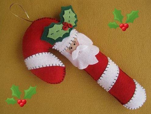 Bastones navideños de Fieltro, hilo y aguja
