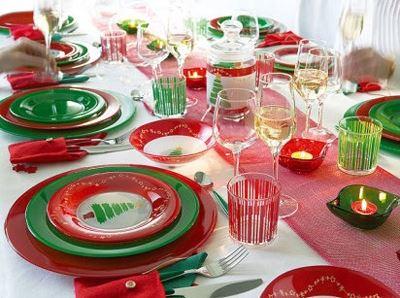 Mesa en colores de Navidad